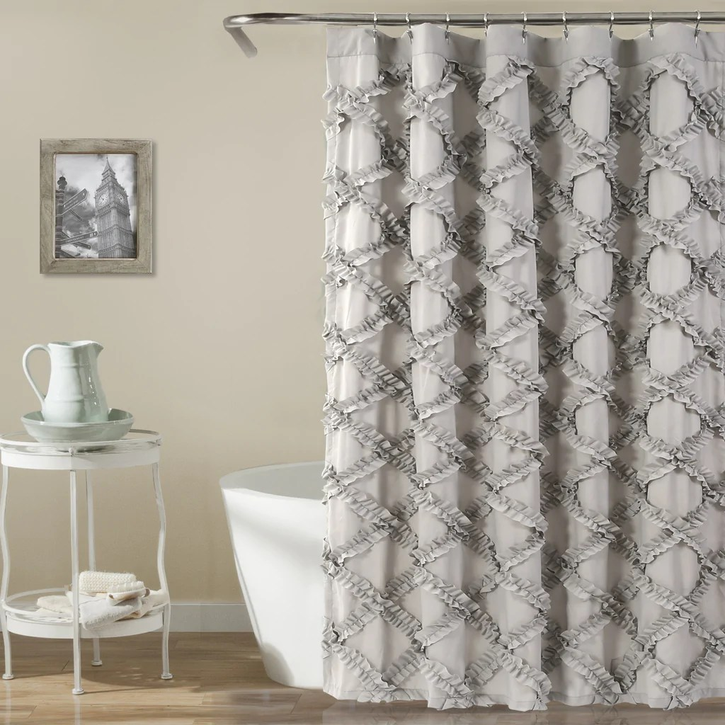 Ruffle Diamond Shower Curtain  Lush Decor  wwwlushdecorcom