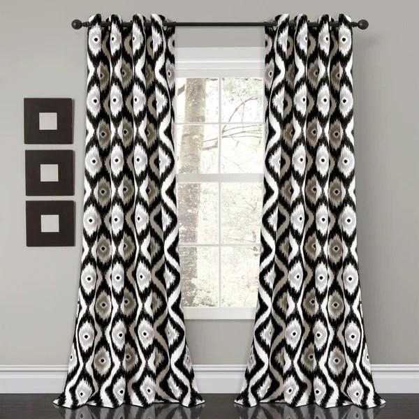 Diamond Ikat Room Darkening Window Curtain Set Lush
