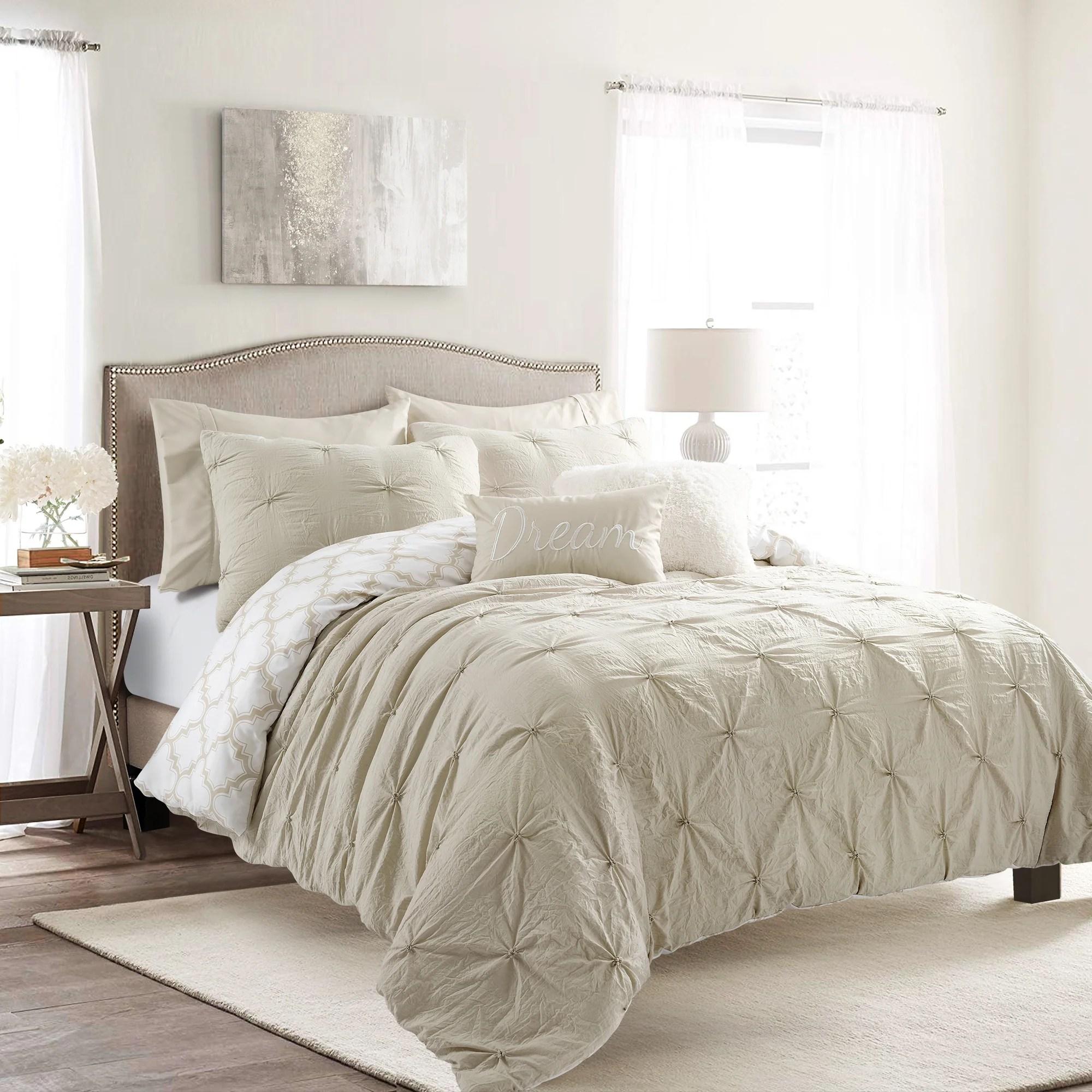 ravello pintuck caroline geo 7 piece comforter set full queen neutral