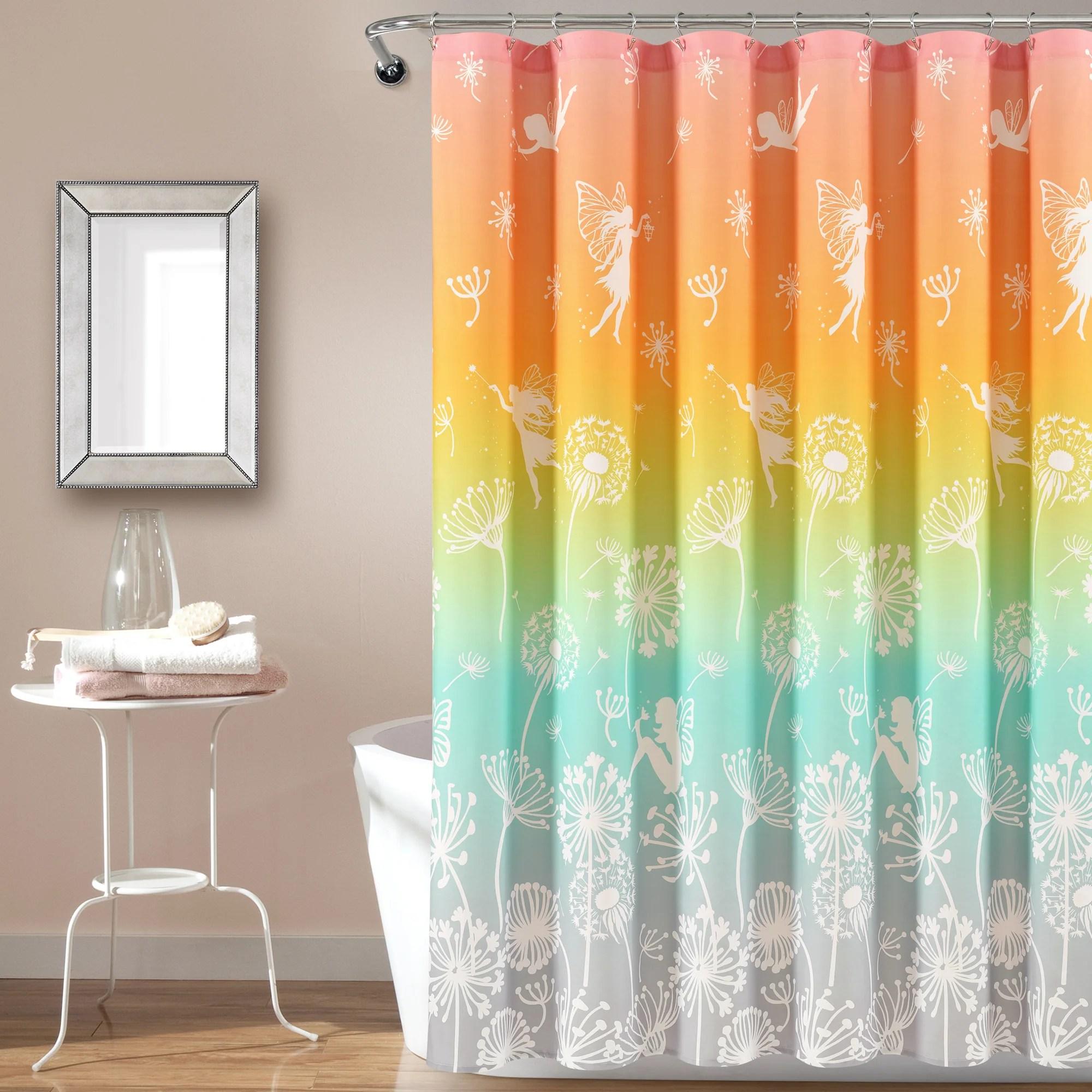 make a wish dandelion fairy ombre shower curtain 72 x 72 pastel rainbow