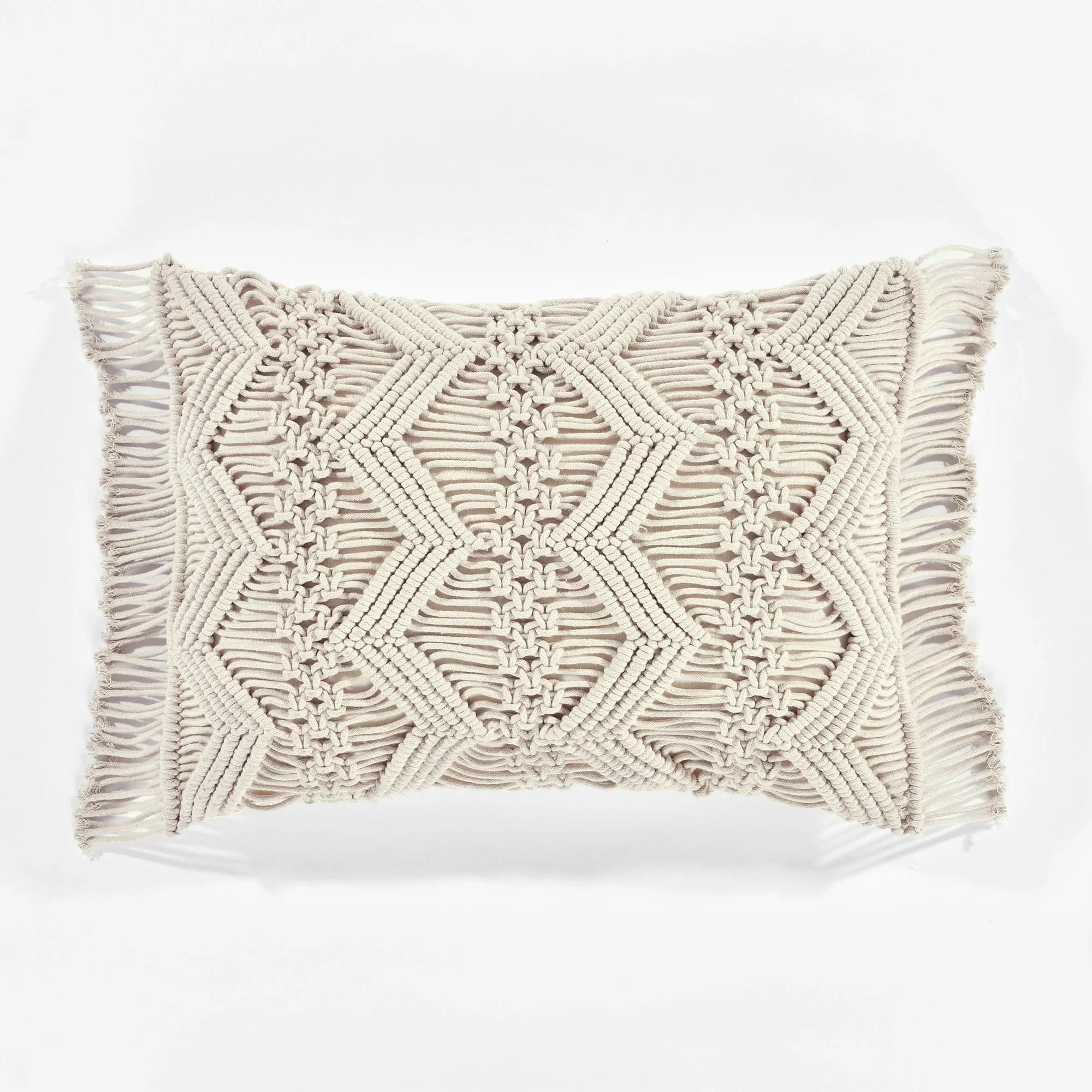 studio chevron macrame decorative pillow cover 13 x 20 3 neutral