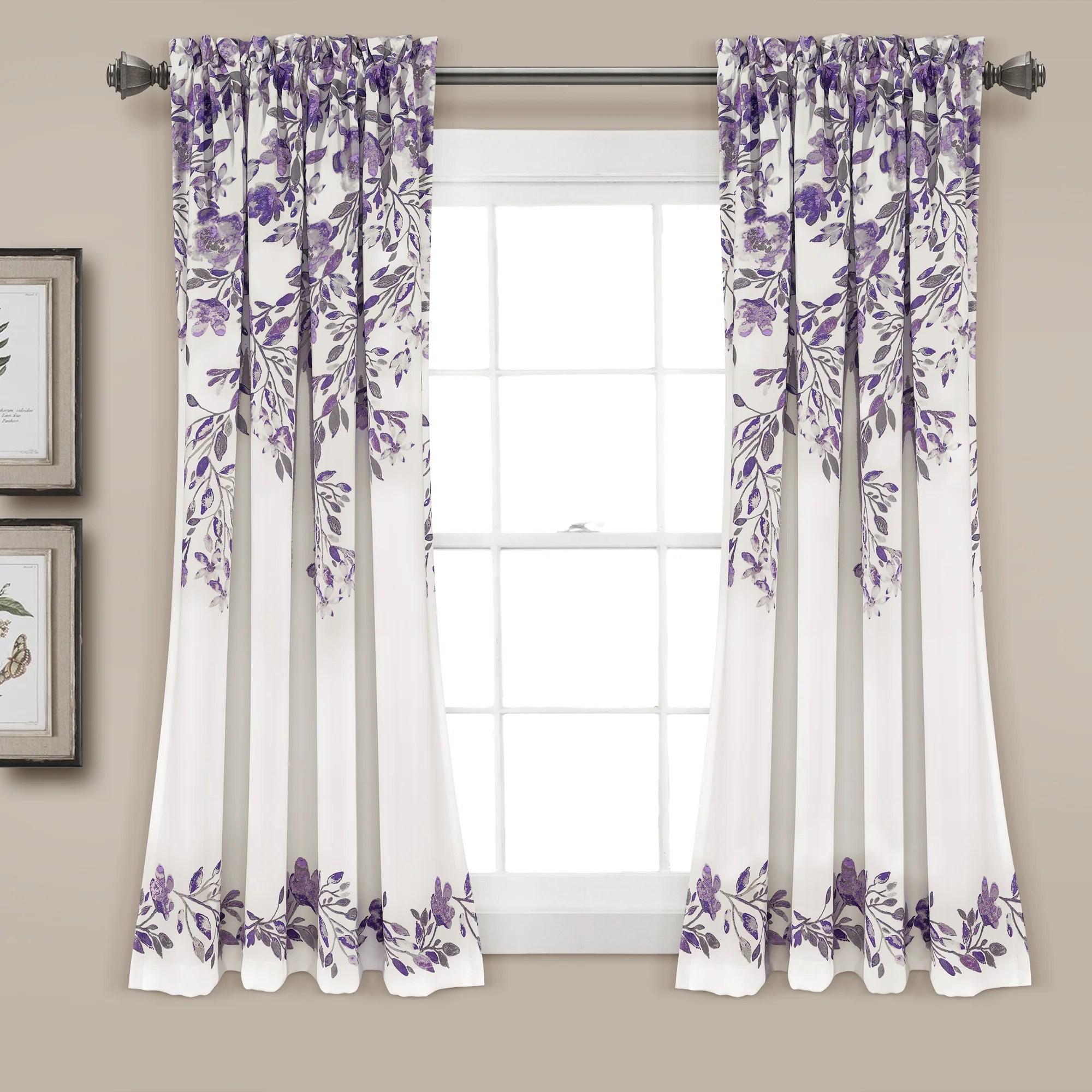 tanisha room darkening window curtain panel set 63 x 52 2 header purple gray
