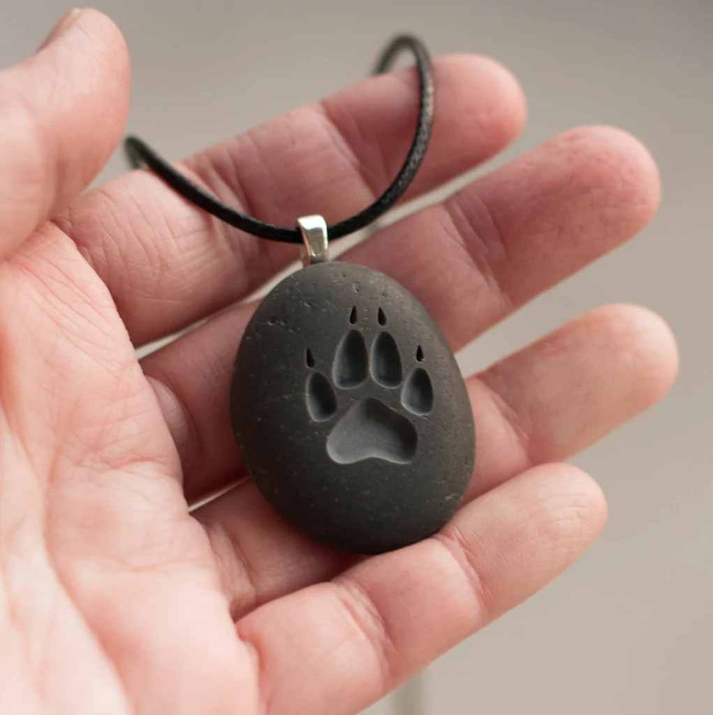 wolf paw print engraved