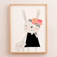 Baby, Girls Floral Woodland Bunny Nursery or Bedroom Wall ...