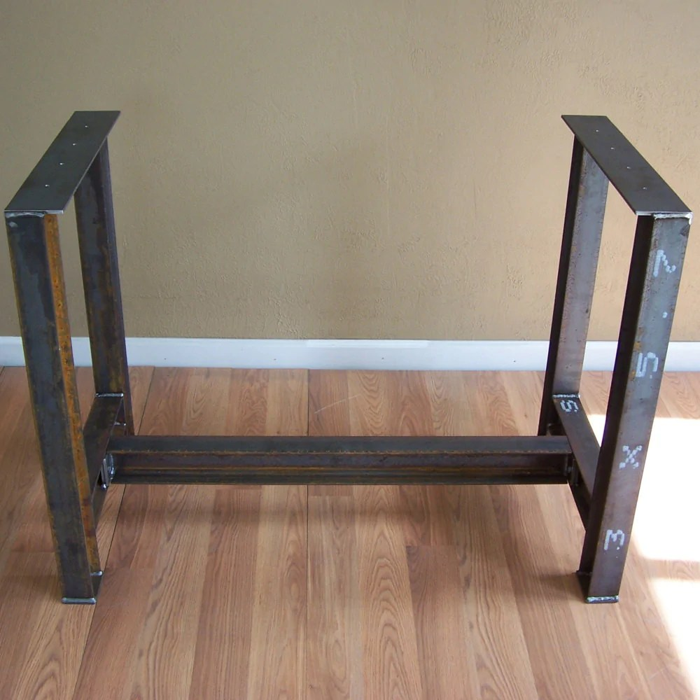 steel kitchen table memory foam mat industrial i beam island dining bar base rustic legs image 5