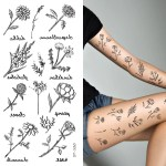 Supperb Temporary Tattoos Black Rose Flowers Peony Dahlia Dandelion Supperbtattoo