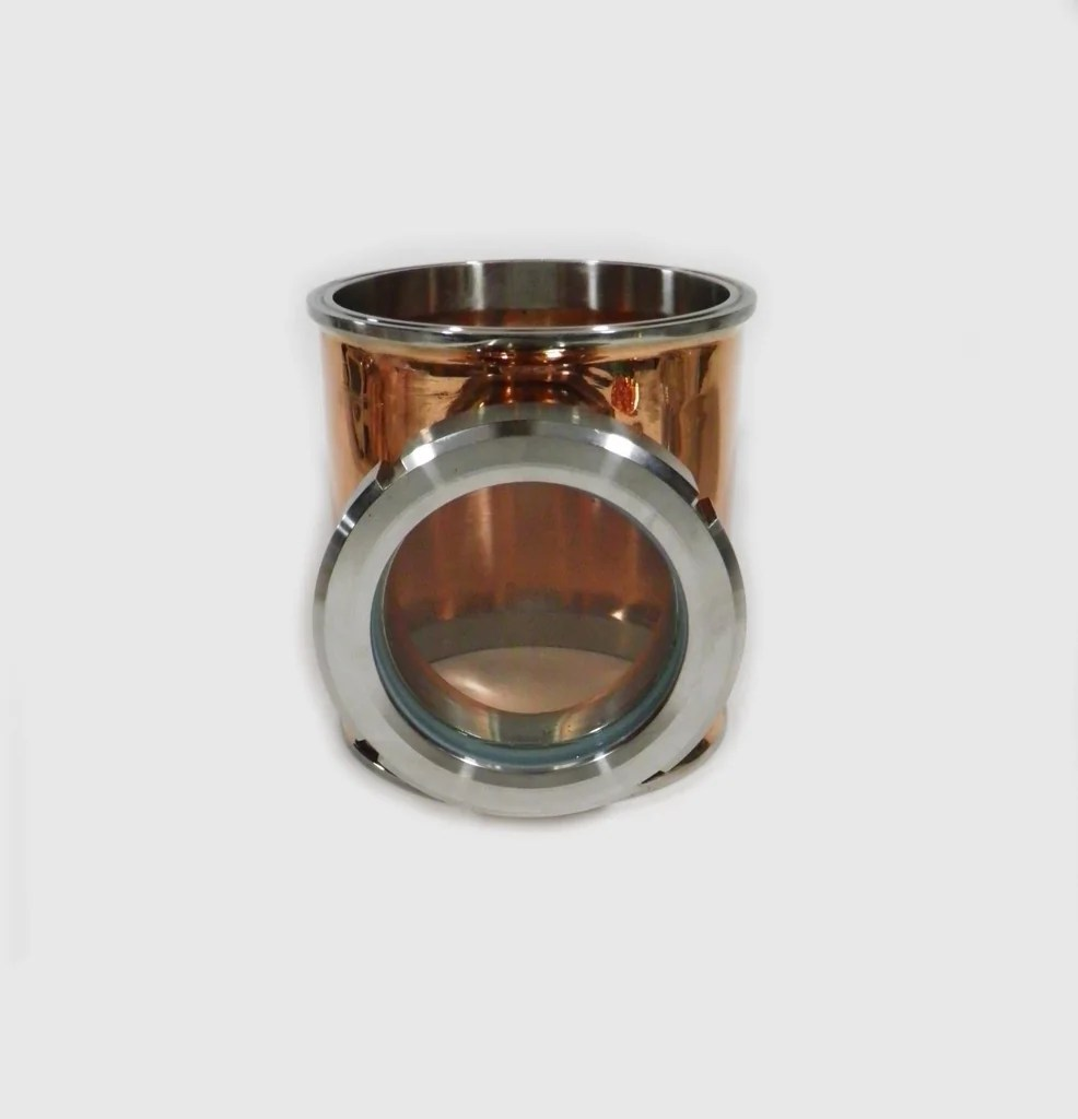 8 Copper Column Section with Bubble Plate Tri Clamps