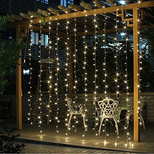 twinkle star 300 led window curtain string lights warm white