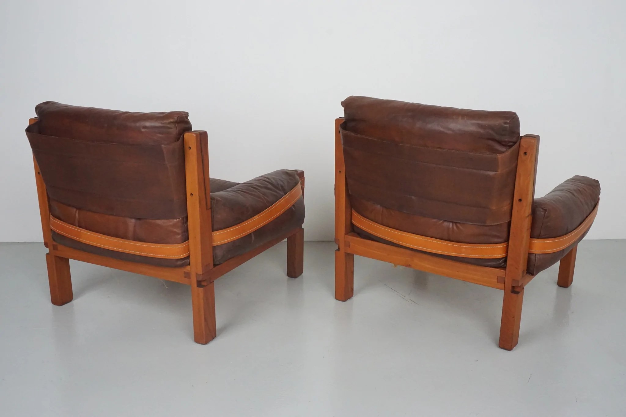 Wood Club Chair Pair Of Leather Club Chairs By Pierre Chapo