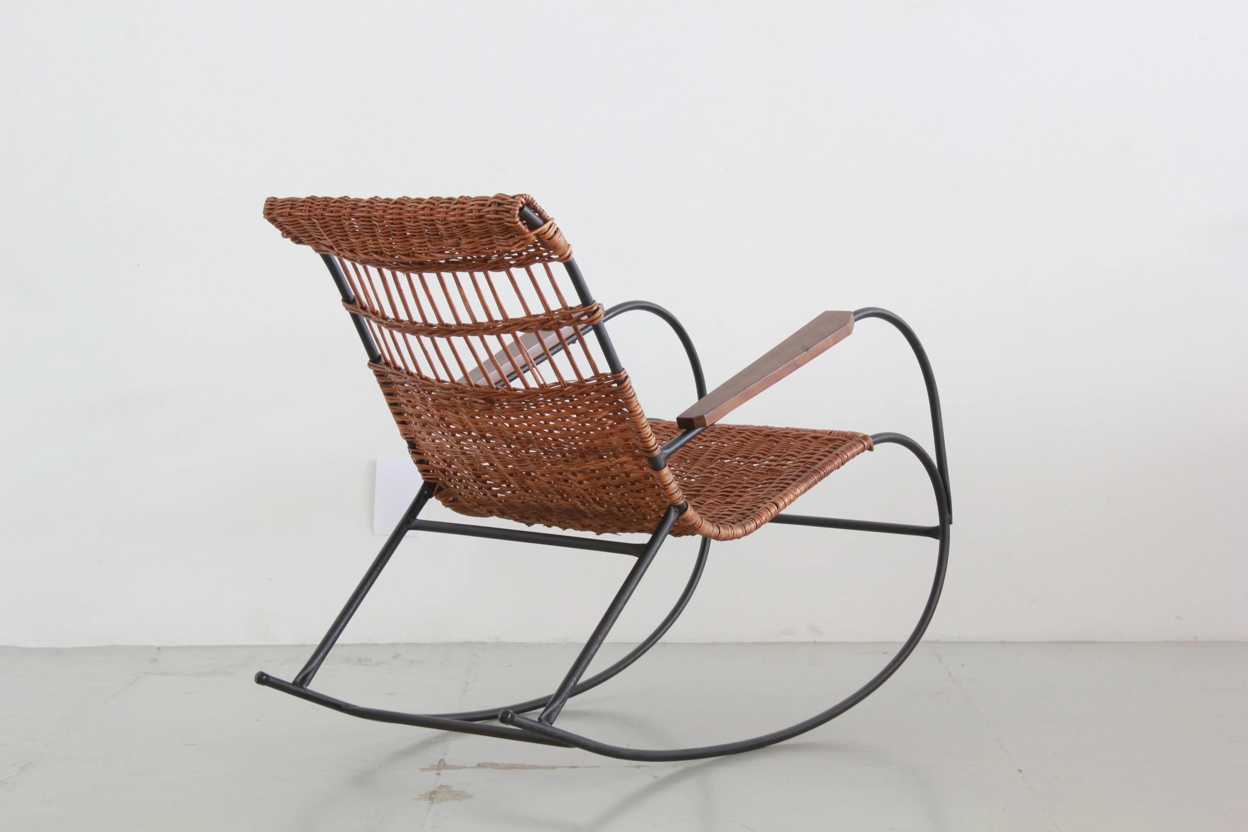 wicker rocking chairs antique tiger oak chair pair of german orange furniture los angeles