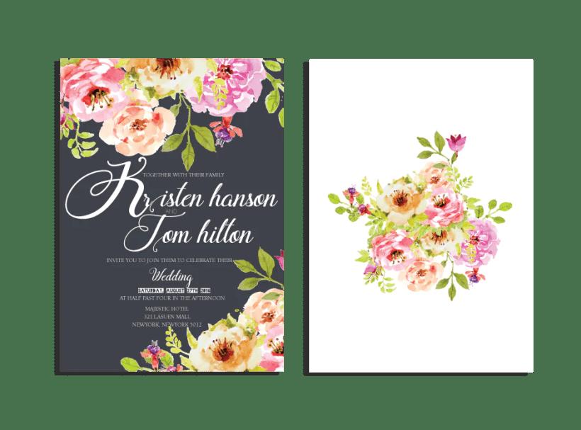 Elegant Fl Invitation Set