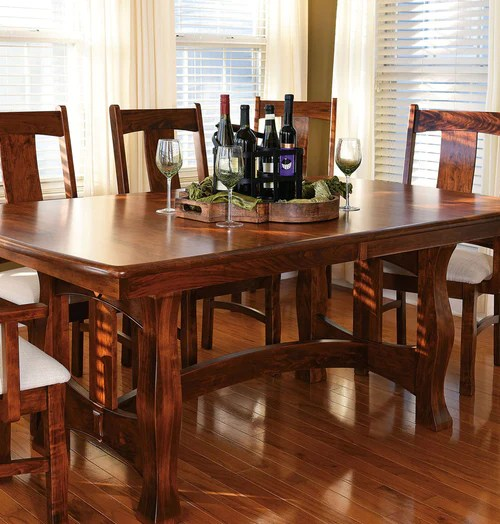 solid oak dining table and chairs pottery barn kids doll high chair home timber wood room furniture made in the usa reno trestle cherry saratoga brookfield