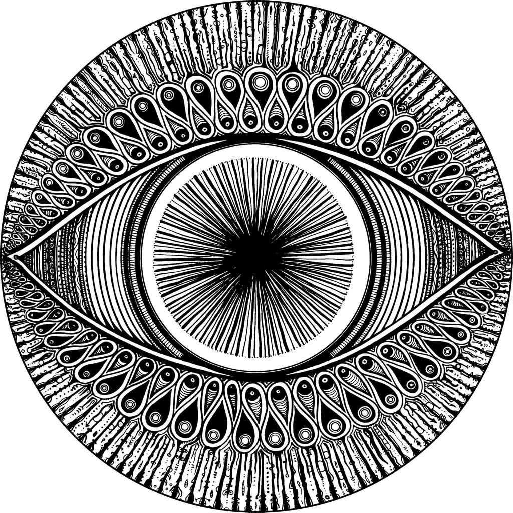 hight resolution of eye geometric wall sticker black and white circle art meditation mandala eye design