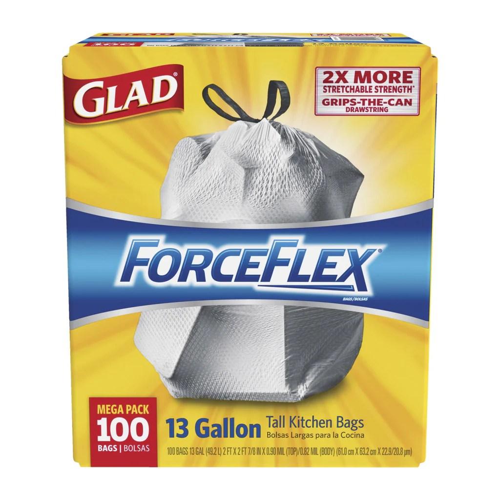 glad kitchen bags food slicer md home care forceflex tall drawstring trash