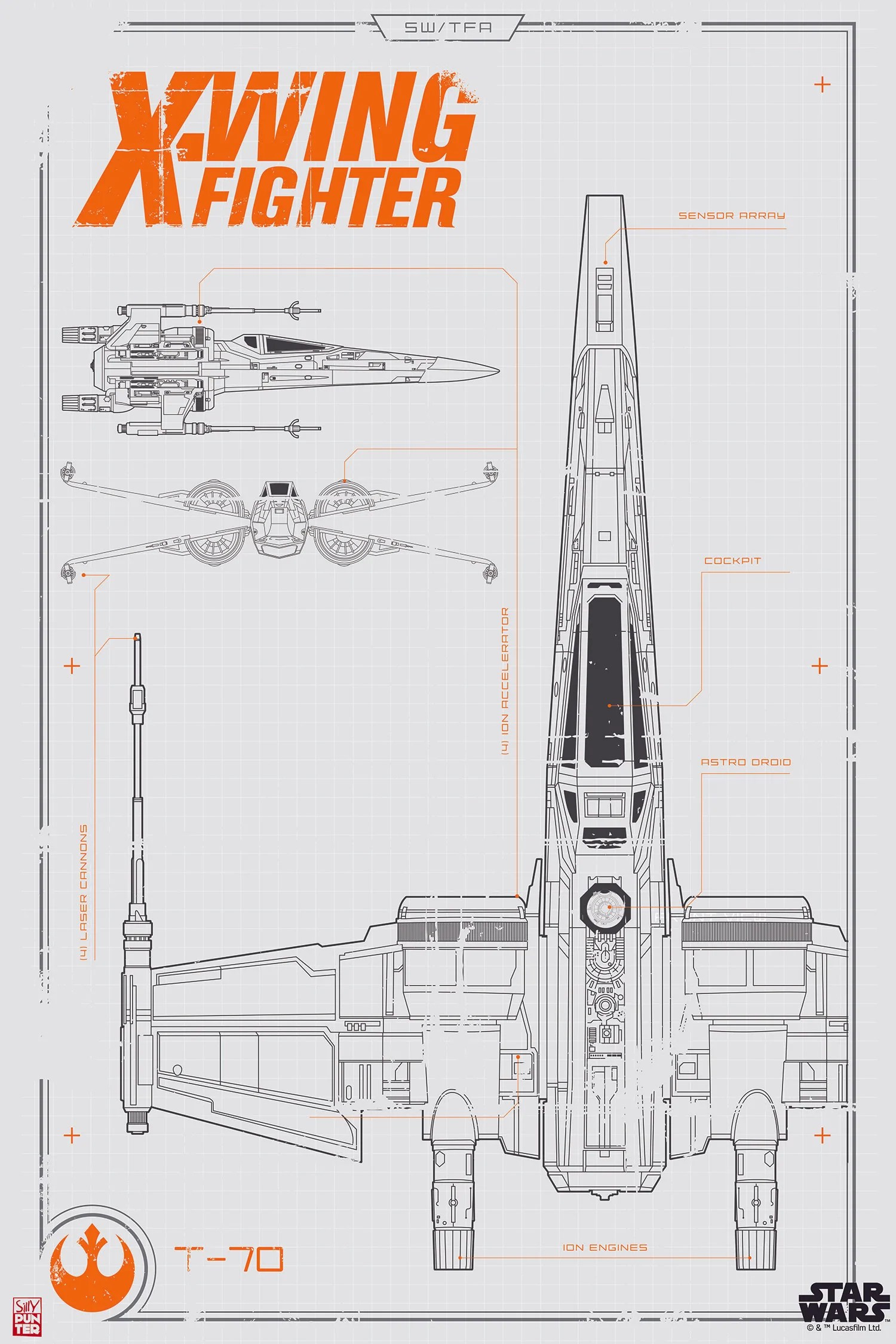 small resolution of star wars x wing fighter blueprint poster