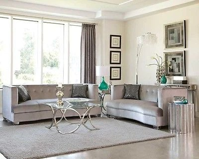 grey living room furniture set what do i need to decorate my sleek silver gray velvet sofa loveseat