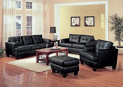 leather sofa set for living room designs small rooms black bonded love seat chair furniture