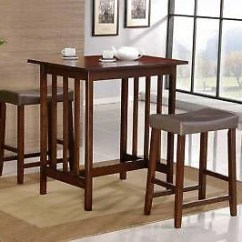 Pub Kitchen Table Aid 6qt 3 Pc White Bistro Dining Saddleback Stools Room Furniture Set