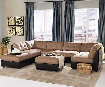 modular living room furniture mirrored cabinets brown microfiber sofa sectional chaise set
