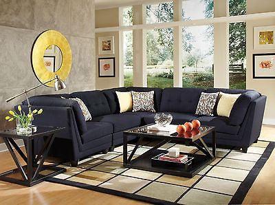midnight blue black linen like l shaped sofa sectional living room furniture set