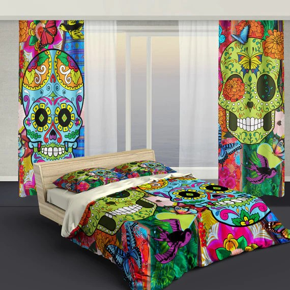 Sugar Skull Bedding  Curtains  Sugar Skull Culture