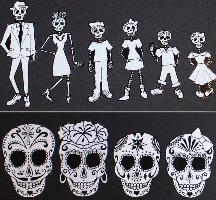 Sugar Skull Skeleton Family Car Stickers  Sugar Skull Culture