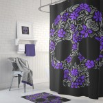 Floral Skull Shower Curtain Purple Grey On Black Sugar Skull Culture