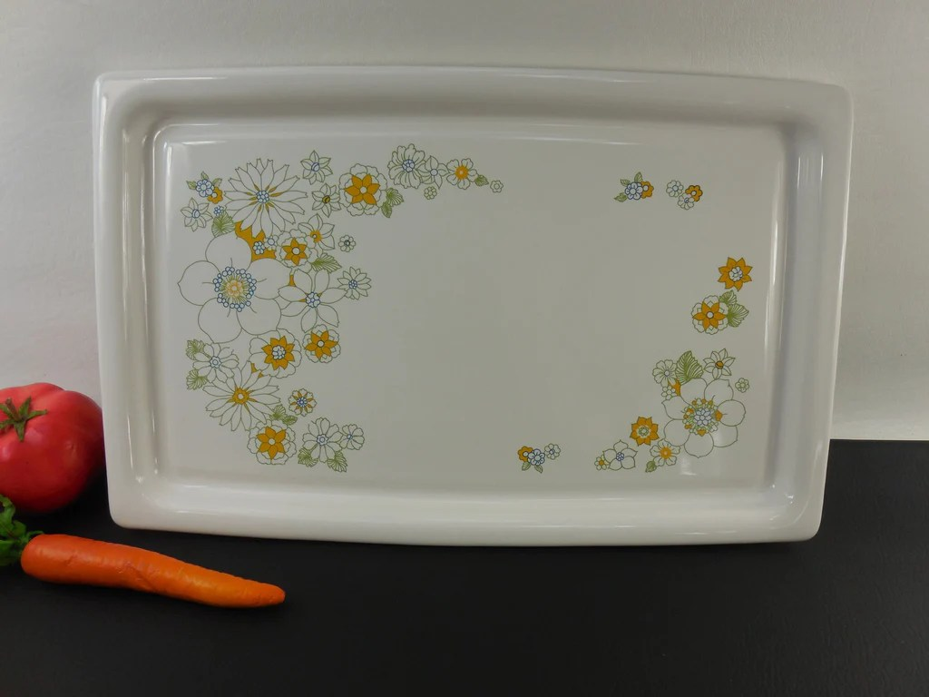 microwave kitchen cart hutch sold corning ware p-35-b flower floral bouquet broil bake ...