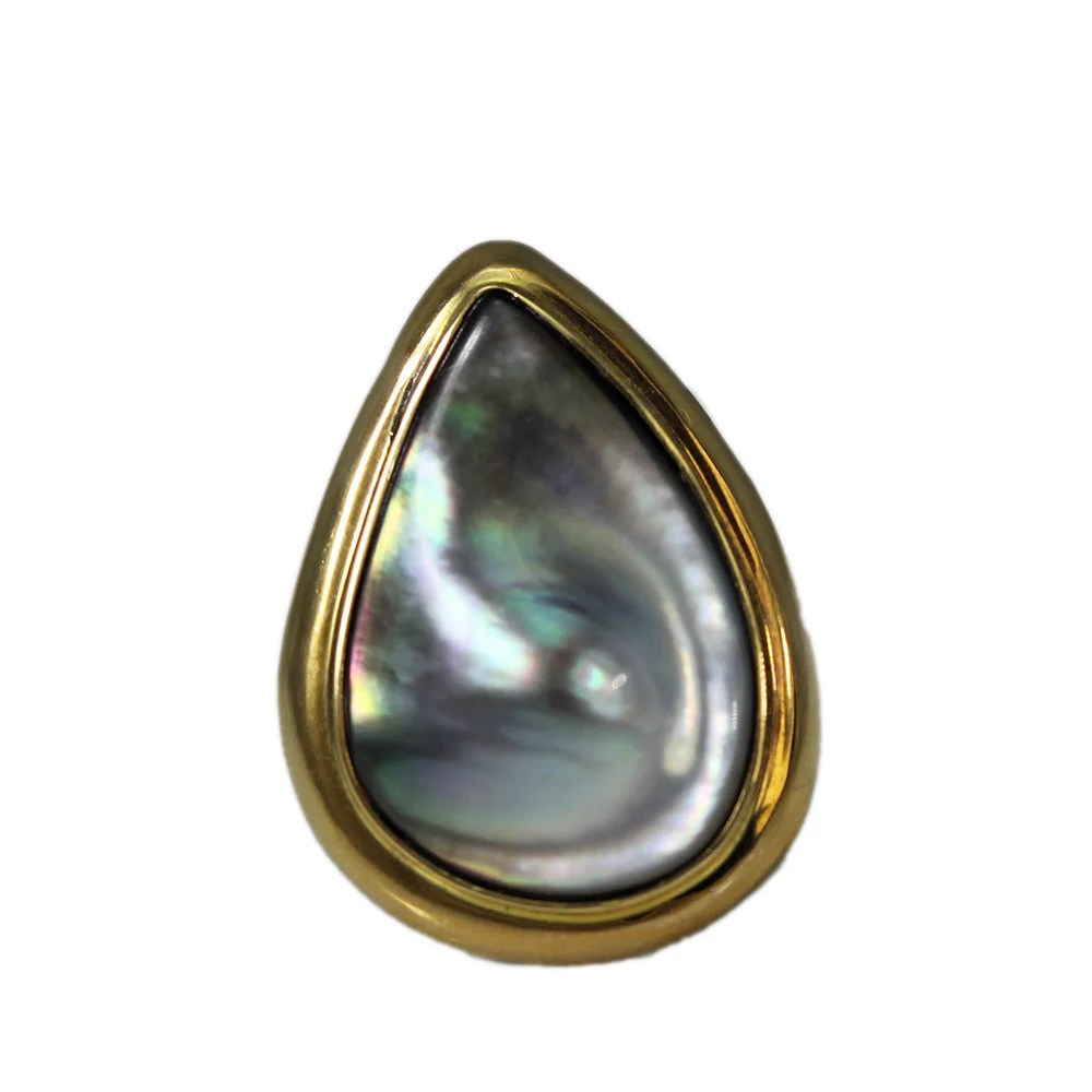14k Gold Gray Mabe Pearl Ring Mira Jewelry Design
