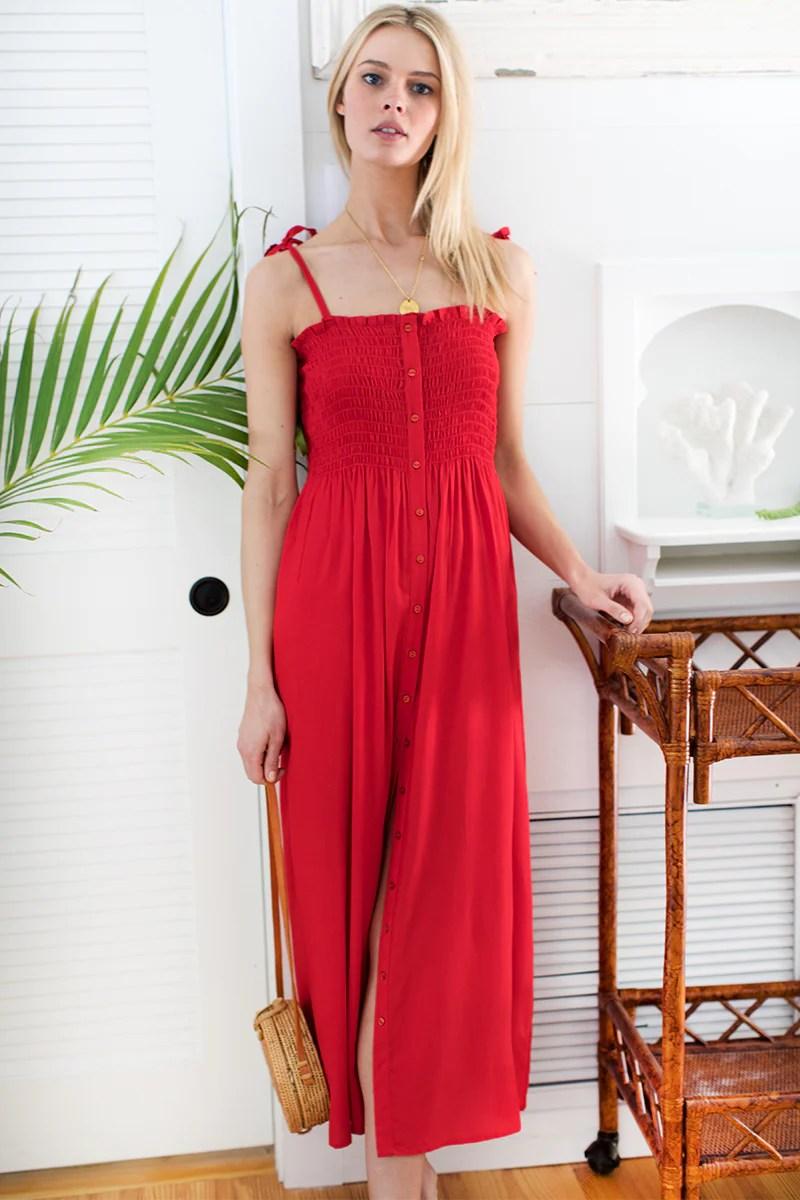 santiago sundress bright red