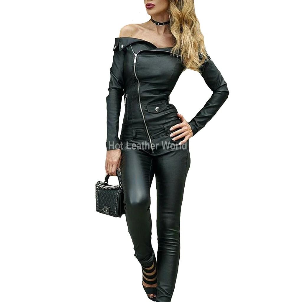 women leather jumpsuits hotleatherworld