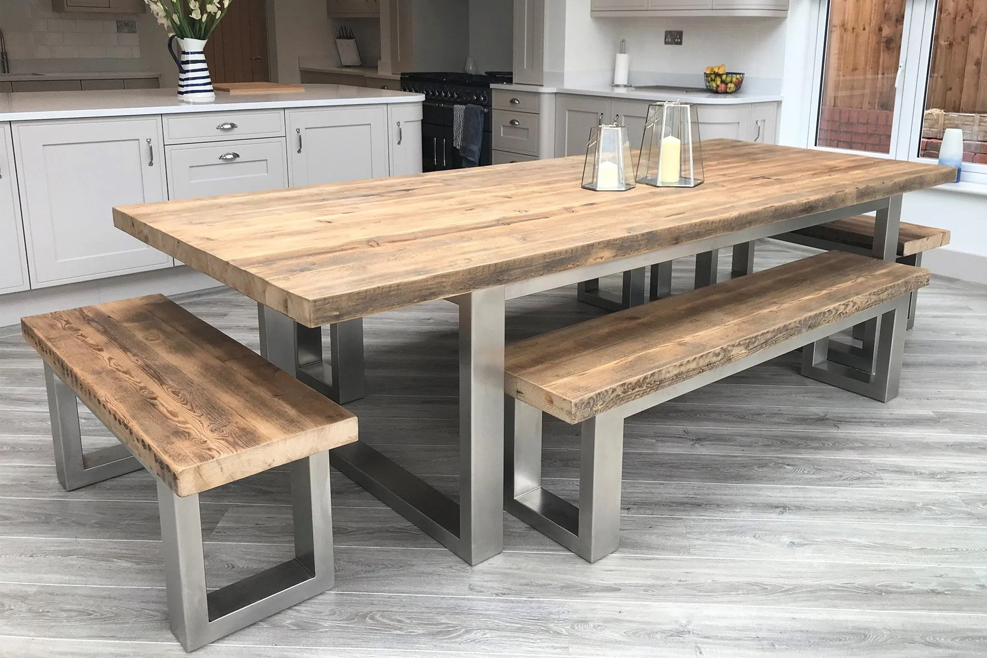 Reclaimed Wood and Metal Rustic Dining Table – Eat Sleep Live