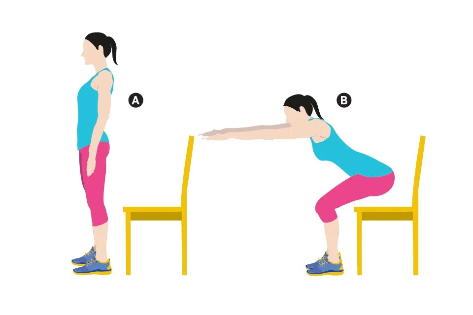chair sit to stand exercise bean bag chairs for kids how improve your standing posture wiivv shrugs roll shoulders up meet ears and then them backward until they re in a neutral position again repeat this often during