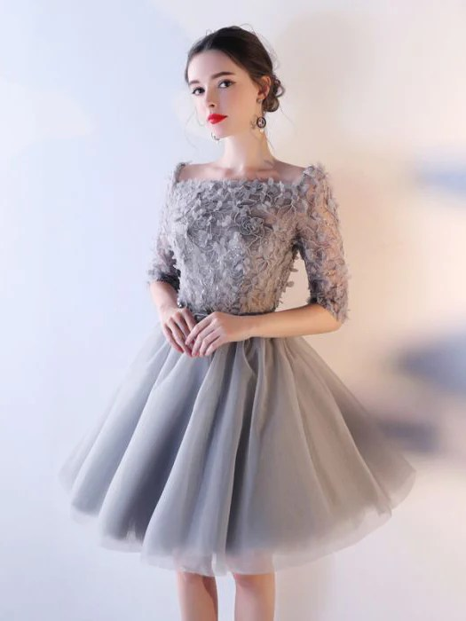 Chic Aline Square Silver Tulle Applique Short Prom Dress Homecoming D  AmyProm