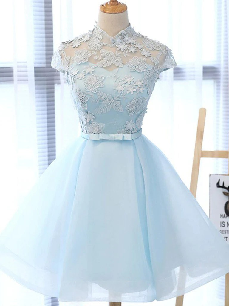 Chic Light Sky Blue Homecoming Dress Tulle High Neck
