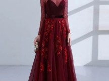 Chic Burgundy Prom Dresses Long A line Scoop Applique ...