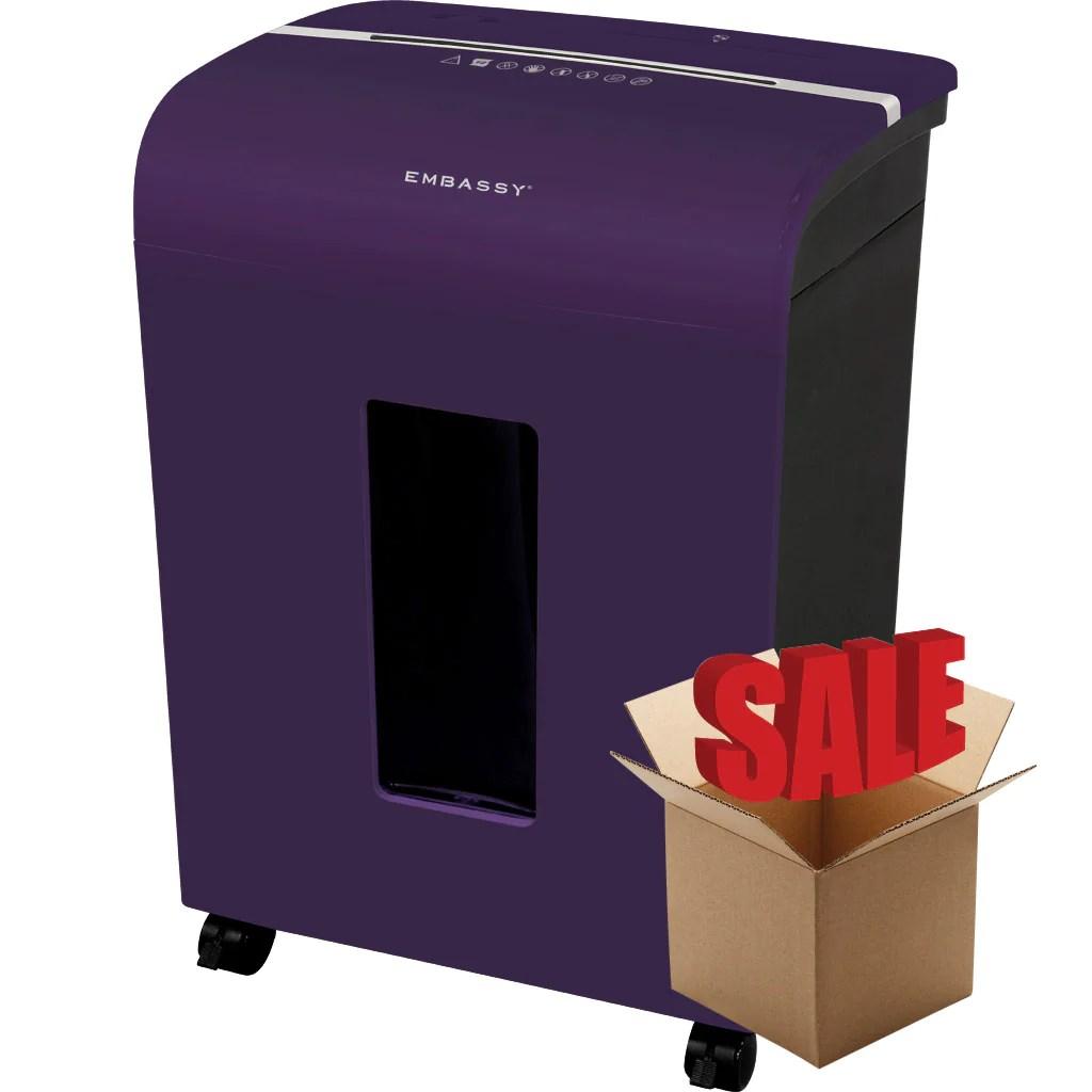 Embassy Lm140pv Purple 14 Sheet Microcut Paper Shredder Shredcare