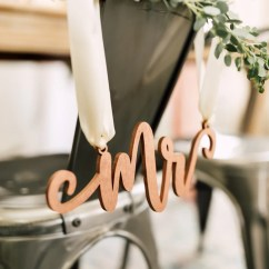 Mr And Mrs Chair Signs Evenflo Expressions High Cover Blushing Wood Happily Ever Etched