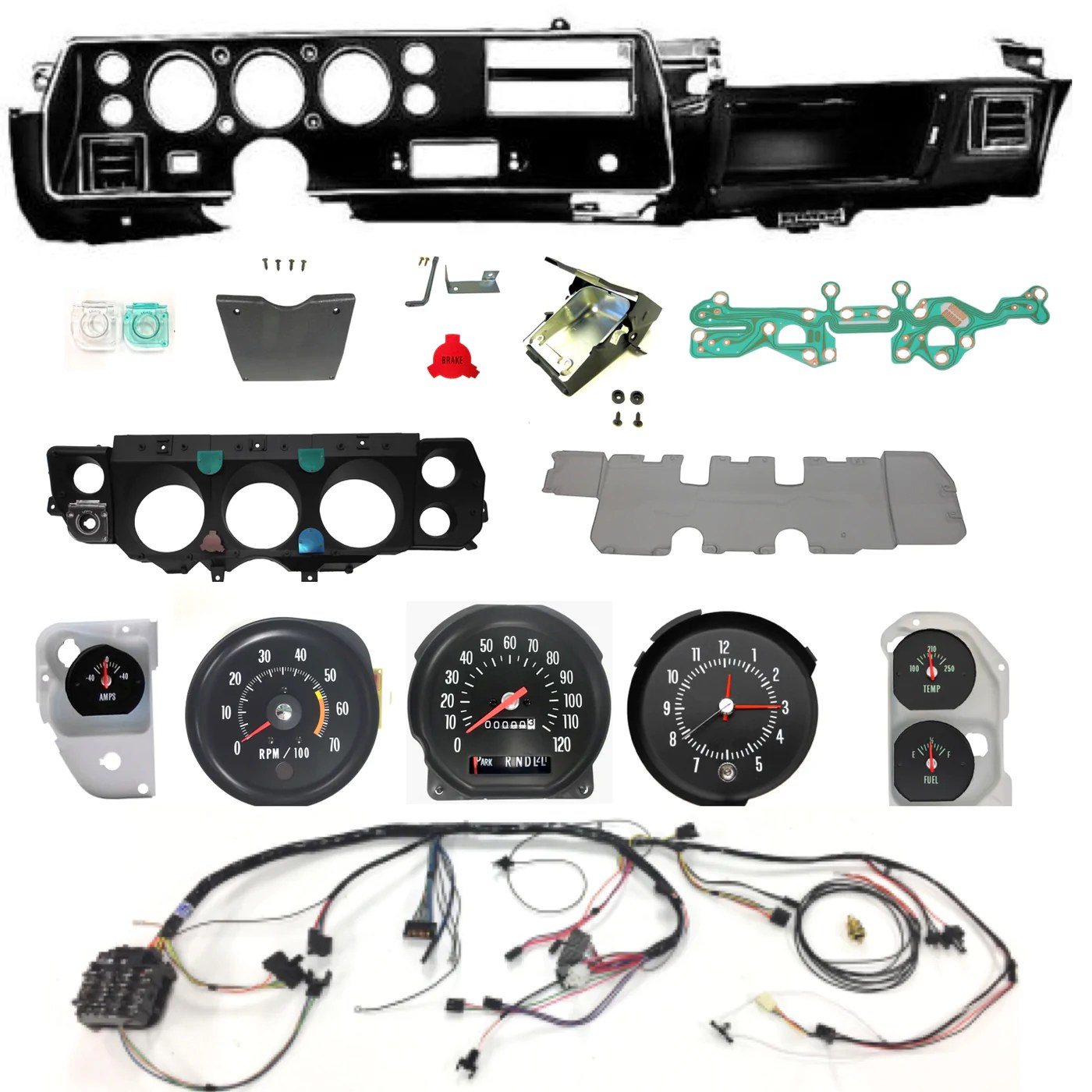 1971 71 chevelle ss dash conversion kit el camino column shift super chevelle dash wiring harness main for cars with factory gauges 1970 [ 1400 x 1400 Pixel ]