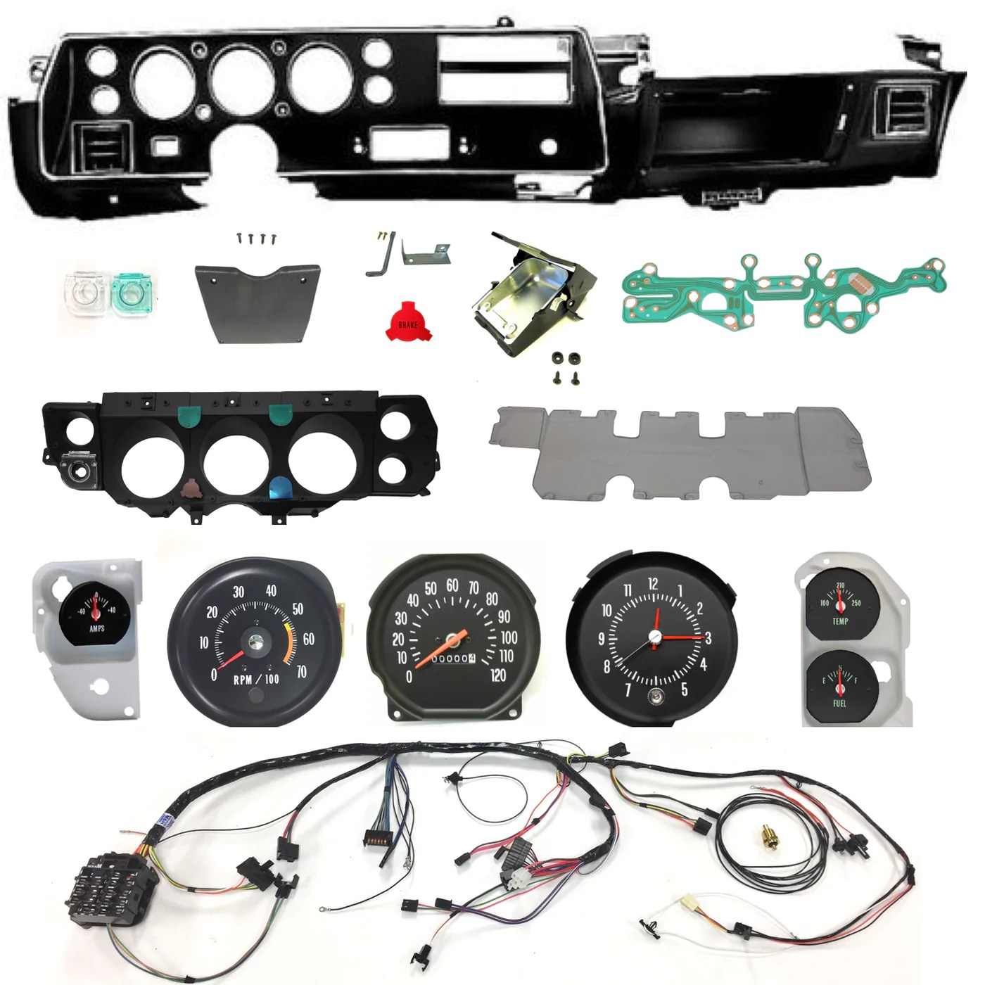 medium resolution of 1971 chevelle ss dash conversion kit el camino super sport floor chevelle dash wiring harness main for cars with factory gauges 1970
