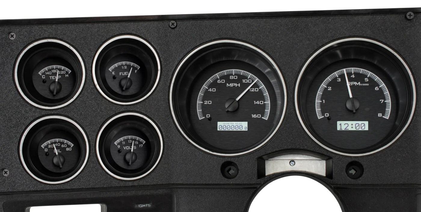 dakota digital 1973 1987 chevy truck vhx black background white light hi tech classics [ 1400 x 706 Pixel ]