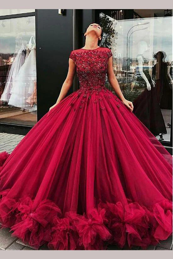 Gorgeous Burgundy Ball Gown Jewel Tulle Beading Cap