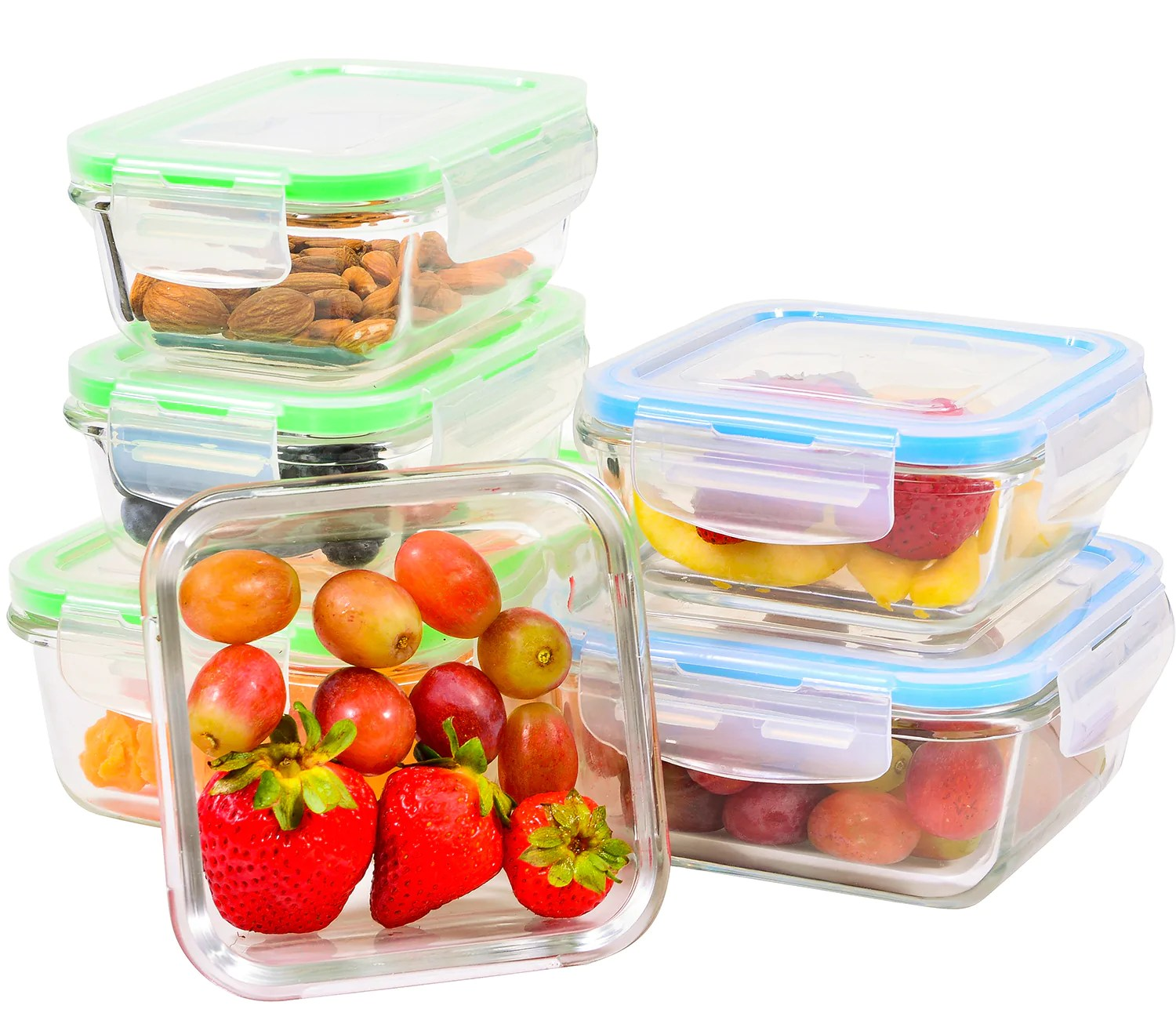 elacra glass meal prep containers with locking lids 6 piece leakproof glass food storage containers for kitchen organization and storage
