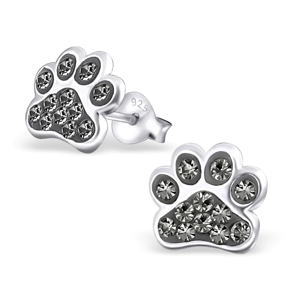 Dog Paw Print Real Sterling Silver Stud Earrings