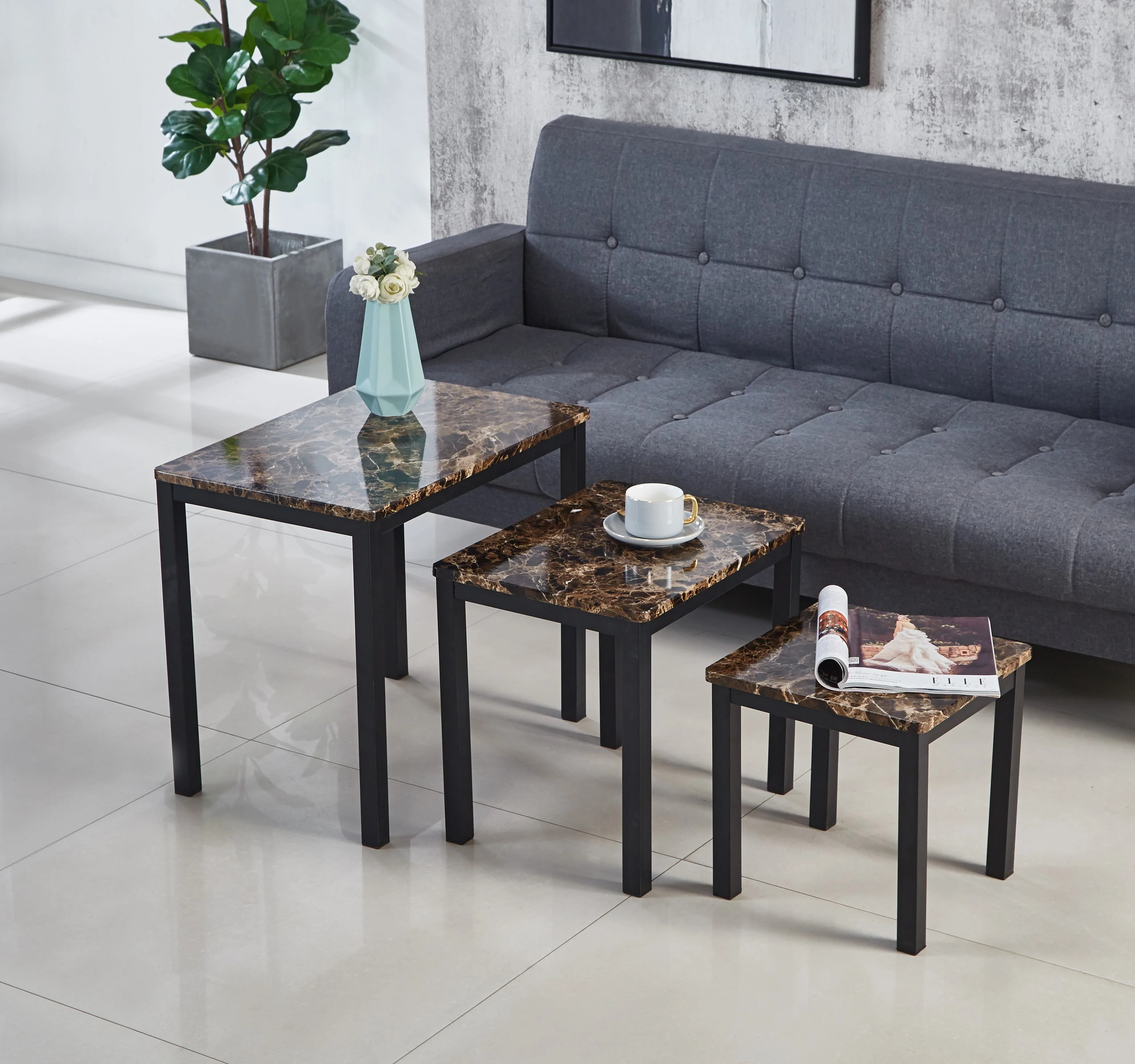 emillia mdf marble effect coffee table coffee table with 2 side tables nest of 3 tables set available in black brown grey black metal frame