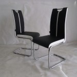 Primo Faux Leather Dining Chair Colour Black White With Chrome Fr Modernique