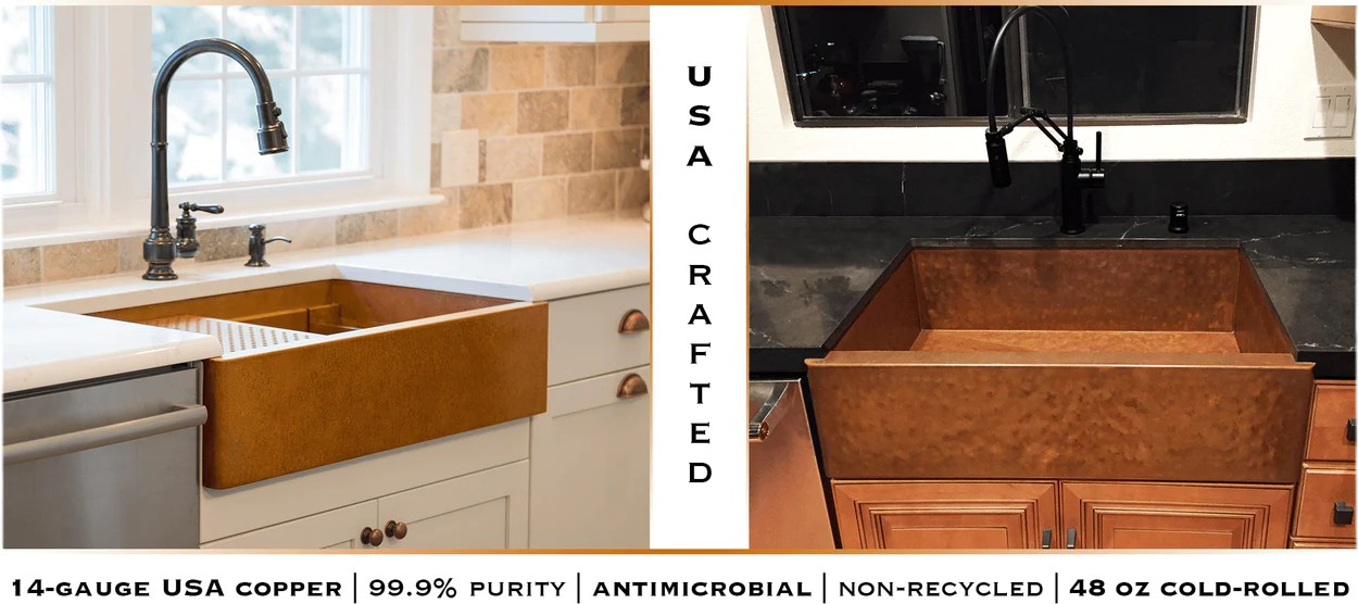 copper kitchen sink modern sinks undermount usa havens metal smooth and hammered handcrafted in the from 14 gauge by