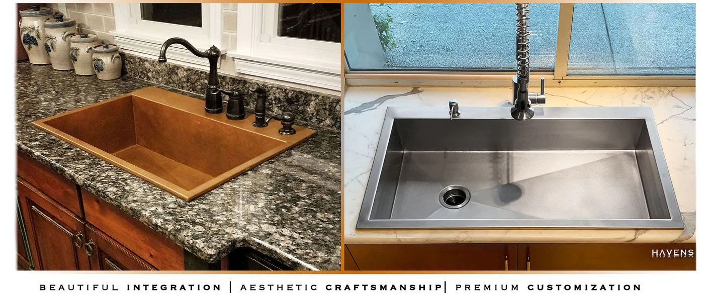 Top Mount Sinks Copper Amp Stainless USA Havens Metal