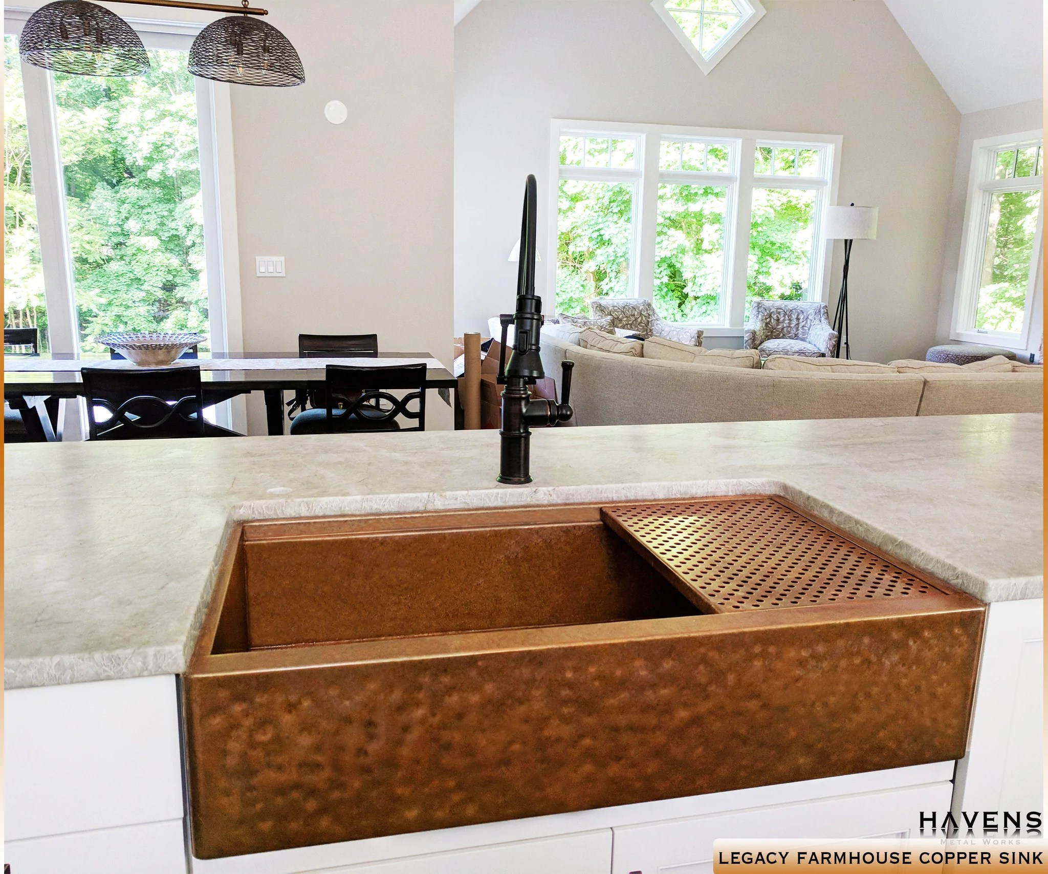 Legacy Hammered Copper Farmhouse Sink  Undermount  Havens Metal