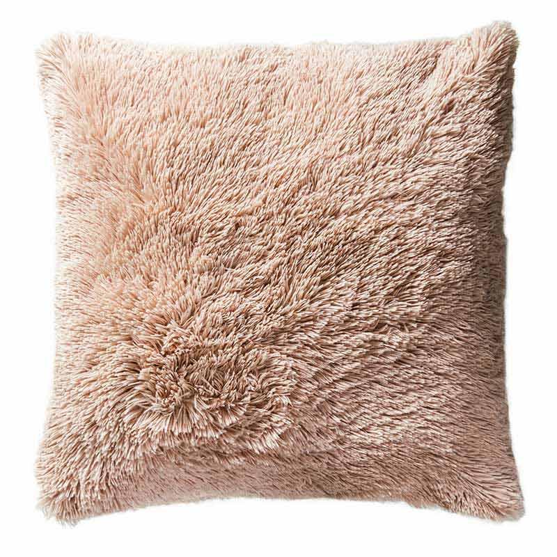 pink faux fur pillow cover